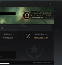 Amarr 58 million so, 5 billion isk, 300 days omega duo left as of today