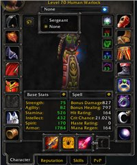 70 Human Warlock w/ Full Phase1 BIS/EPIC FLYING/6800gold in bags! 64 Human Paladin/60 Gnome Warrior alts