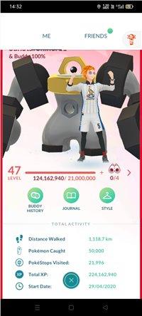 Level 50 Level 47  Pokemon Go Account with 220 Million XP, 450+ Shinies Including 22 Legendary Shinies