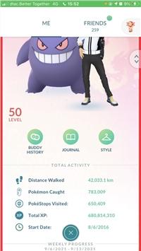 Pokemon Go Account Level 50   680m XP   82M Stardust