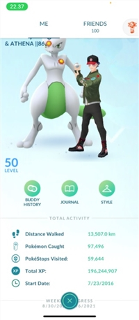 MAX ACC! LEVEL 40 + 10 (50) MYSTIC! 196M EXP! 366+ LEGENDARY! 387+ SHINY! LUCKY LEGENDS DECK! 2 LEGEND 100% IV! LEVEL 50 ! MAX MEWTWO! BEST BUDDY MONS