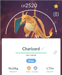 CHARIZARD 2500+CP - TRADE - Registered or Unregistered