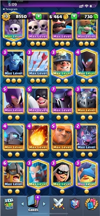 CHEAP & SUPER STRONG LEVEL 13 ACCOUNT //84 CARDS MAXED // YOU CAN MAXED 97 CARDS ONLY NEED GOLD //22 SKIN TOWER //75 EMOTE // 11 LEGENDARY CARD MAXED