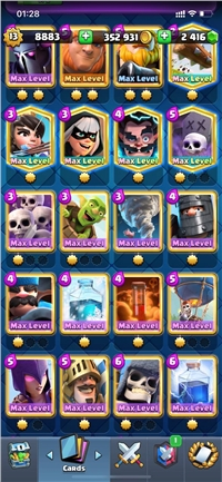 CHEAP AND SUPER STRONG LEVEL 13 ACCOUNT // 79 CARDS MAXED // YOU CAN MAXED 92 CARDS ONLY NEED GOLD // 2416 GEM // CHANGE NAME 500 // 8 LEGENDARY CARD