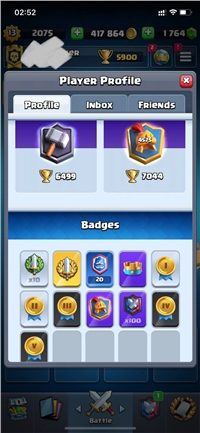20 WIN CRL BADGE // LEVEL 13 ACCOUNT // 75 CARDS MAXED // YOU CAN MAXED 94 CARDS ONLY NEED GOLD // 9 LEGENDARY CARD MAX // 40 EMOTE // 6 SKIN TOWER //