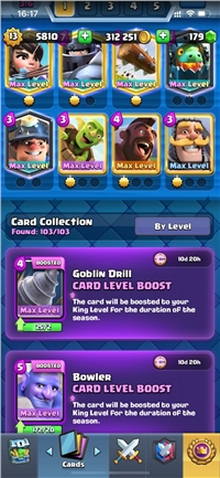 DISCOUNT // LEVEL 13 ACCOUNT // 35 CARDS MAXED // YOU CAN MAXED 50 CARDS ONLY NEED GOLD // CHANGE NAME FREE // 5 LEGENDARY CARD MAX // 33 EMOTE