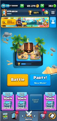 LEGENDARY ARENA , ALL CARDS UNLOCKED ,  MAX TROPHIES - 5600,  GOLD-125279,
